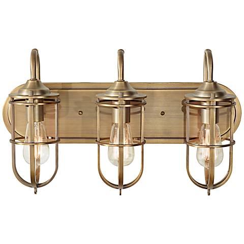 """Feiss Urban Renewal 21 1/2"""" Wide Antique Brass Bath Light"""