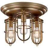 "Feiss Urban Renewal 15"" Wide Antique Brass Ceiling Light"