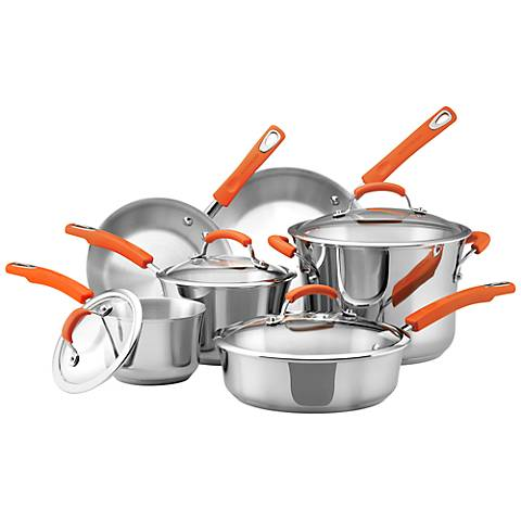 Rachael Ray Orange 10-Piece Stainless Steel Cookware Set