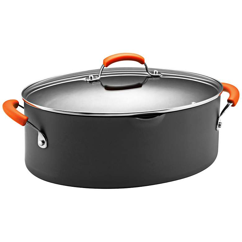 Rachael Ray Orange 8-Quart Hard-Anodized Covered Pot