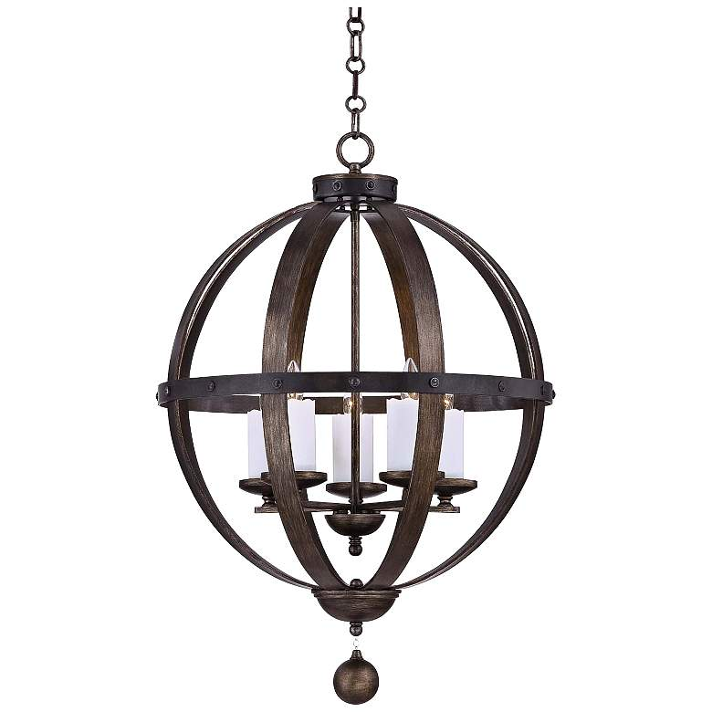 """Savoy House Alsace 24"""" Wide Reclaimed Wood Pendant Light"""