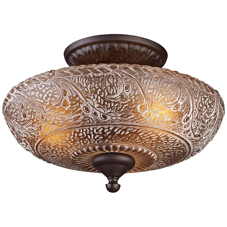 "Norwich 14"" Wide Bronze Restoration Glass Ceiling Light"