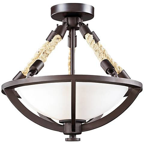 "Natural Rope Collection 15"" Wide Aged Bronze Ceiling Light"