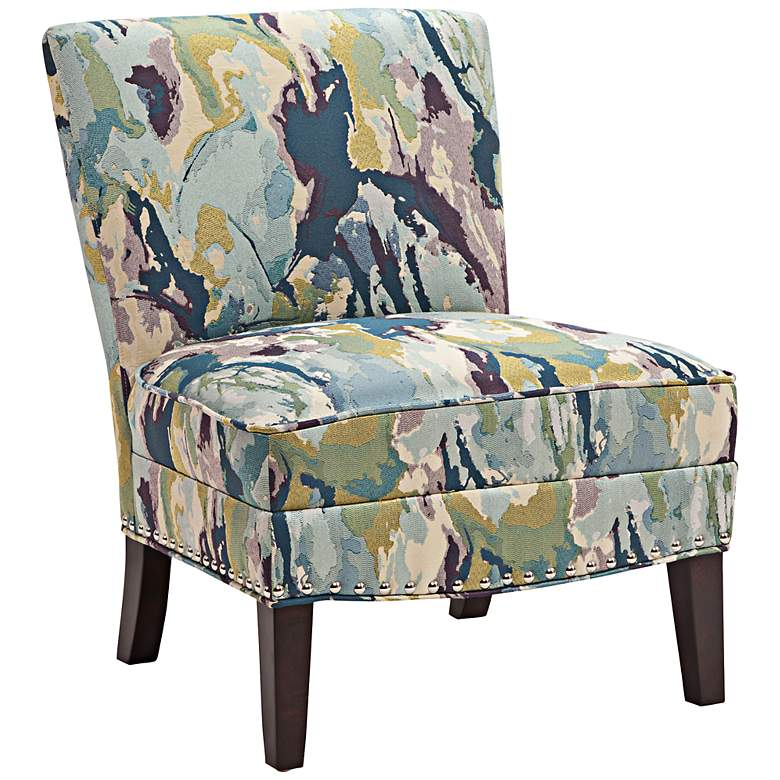 Alex Multi-Color Abstract Fabric Slipper Accent Chair