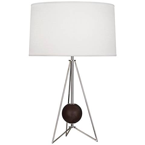 Jonathan Adler Ohai Walnut and Polished Nickel Table Lamp