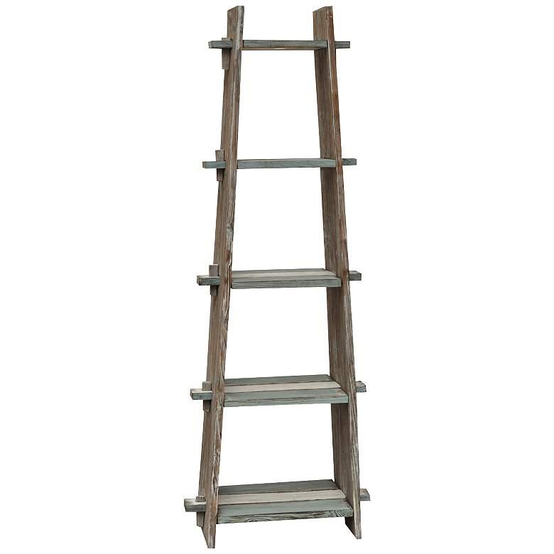"Nantucket 67"" High Weathered Wood Ladder Etagere"