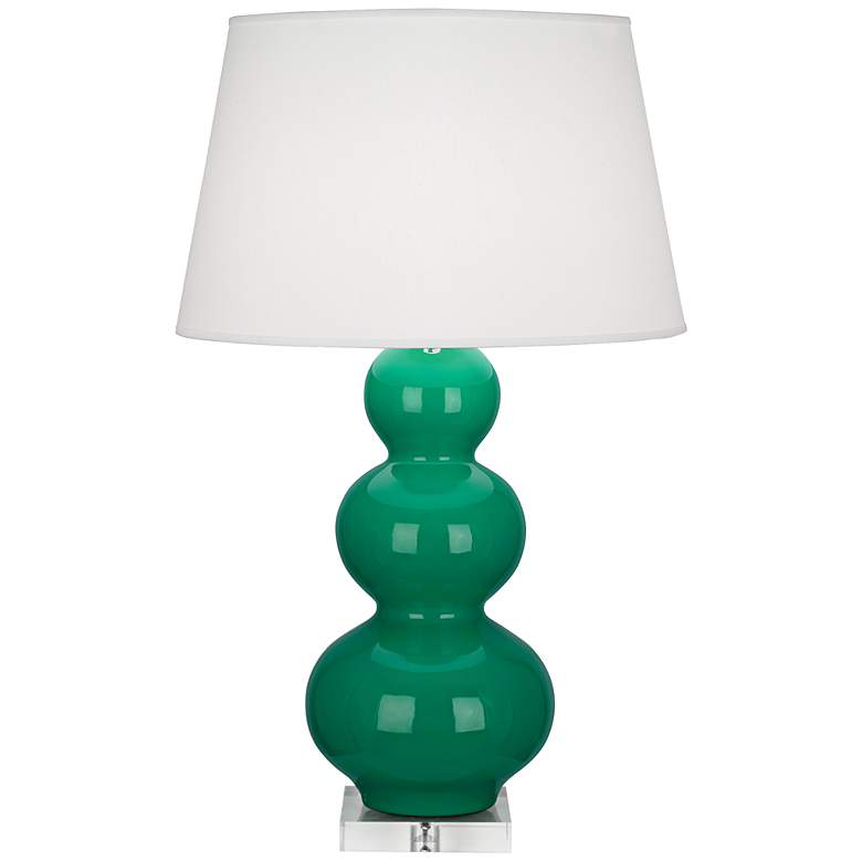 Robert Abbey Triple Gourd Ceramic Emerald Buffet Lamp