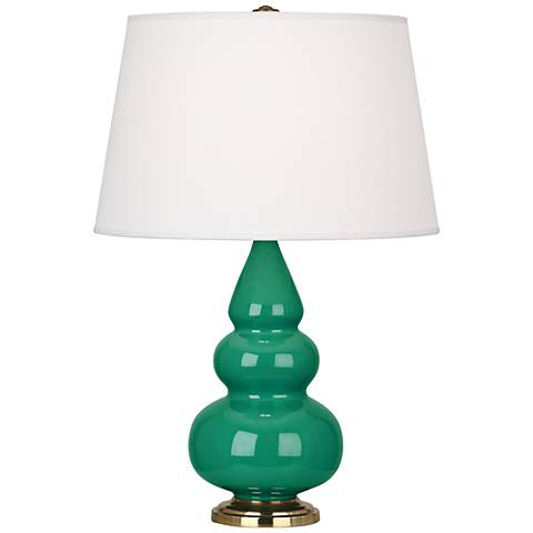 Robert Abbey Emerald Glazed Triple Gourd Table Lamp
