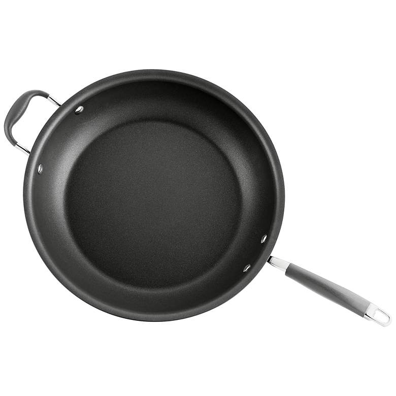"""Anolon Advanced Gray 14"""" Skillet with Helper Handle"""