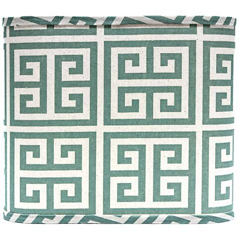Aqua Greek Key Drum Lamp Shade 16x16x13 (Spider)