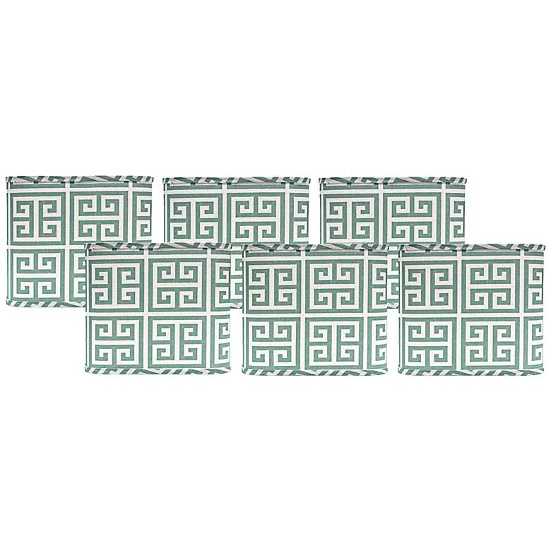 Set of 6 Aqua Greek Key Lamp Shades 5x5x5 (Clip-On)