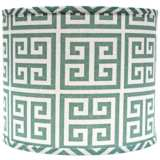Aqua Greek Key Drum Lamp Shade 14x14x11 (Spider)
