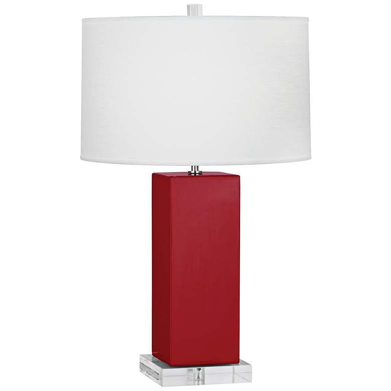 Robert Abbey Harvey Ruby Red Glazed Ceramic Table Lamp