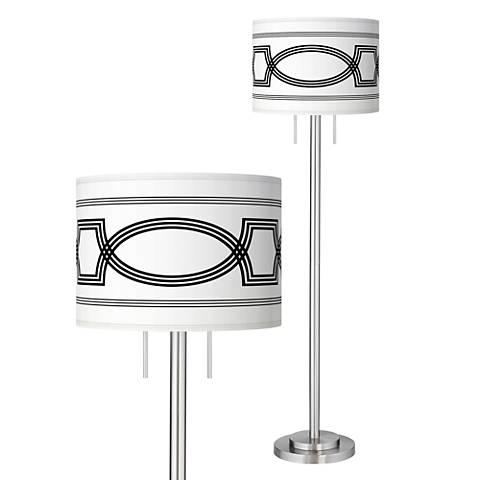 Concave Giclee Brushed Nickel Garth Floor Lamp