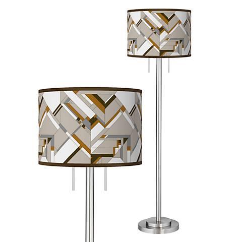 Craftsman Mosaic Giclee Brushed Nickel Garth Floor Lamp