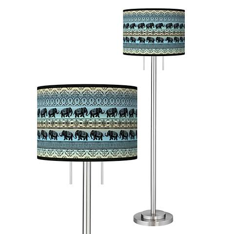 Elephant March Giclee Brushed Nickel Garth Floor Lamp