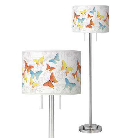 Pastel Butterflies Giclee Brushed Nickel Garth Floor Lamp