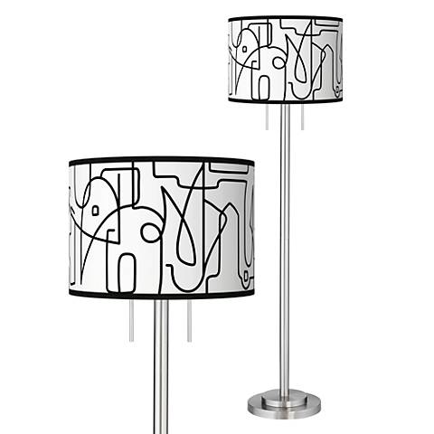 Scribble World Giclee Brushed Nickel Garth Floor Lamp