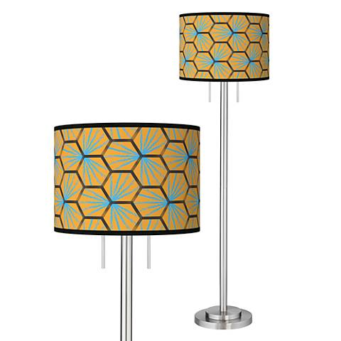 Hexagon Starburst Giclee Brushed Nickel Garth Floor Lamp