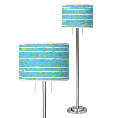 Paint Drips Giclee Brushed Nickel Garth Floor Lamp