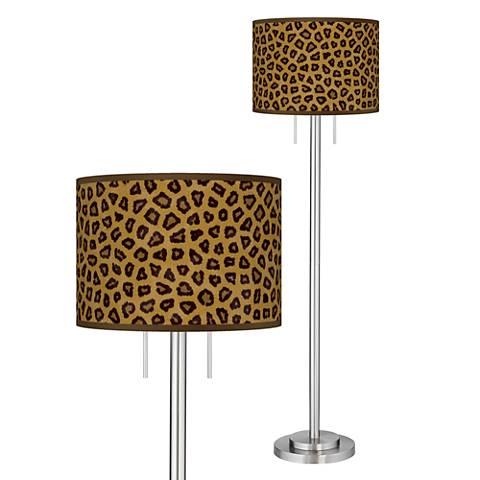 Safari Cheetah Giclee Brushed Nickel Garth Floor Lamp