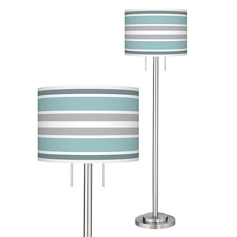 Multi Color Stripes Giclee Nickel Garth Floor Lamp