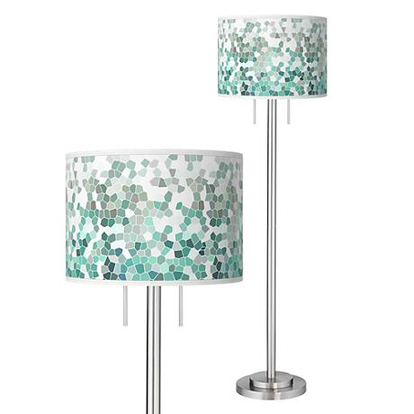 aqua mosaic giclee brushed nickel garth floor lamp 87868