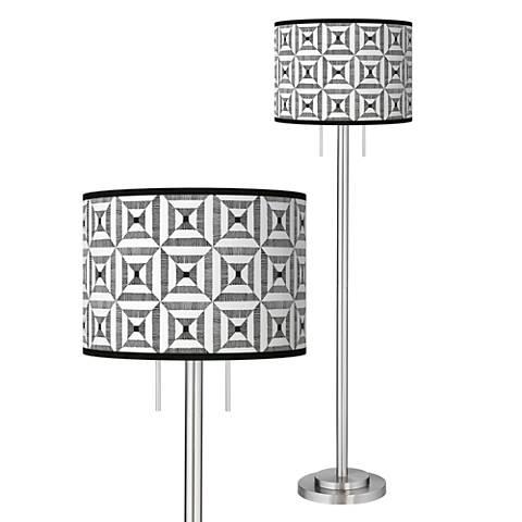 Tile Illusion Giclee Brushed Nickel Garth Floor Lamp