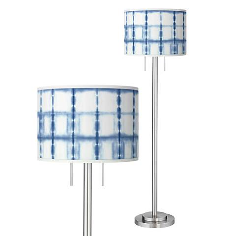 Blue Mist Giclee Brushed Nickel Garth Floor Lamp