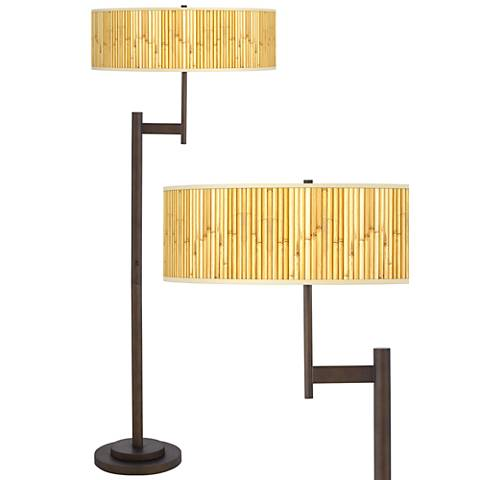 Bamboo Mat Giclee Parker Light Blaster™ Bronze Floor Lamp