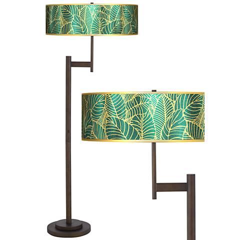 Tropical Leaves Gold Metallic Light Blaster™ Floor Lamp