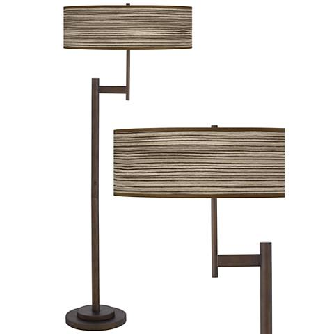 Cedar Zebrawood Parker Light Blaster™ Bronze Floor Lamp