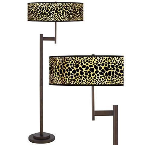 Leopard Gold Metallic Giclee Parker Bronze Floor Lamp
