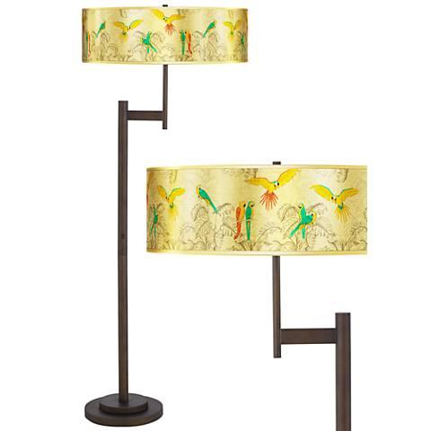 Macaw Jungle Gold Metallic Giclee Parker Bronze Floor Lamp