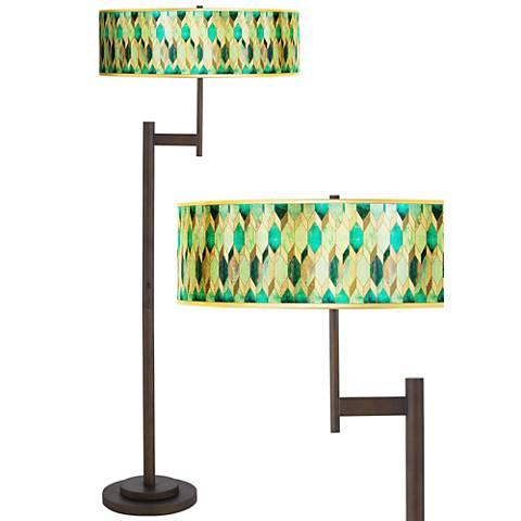 Blue Tiffany-Style Gold Metallic Giclee Parker Bronze Floor Lamp