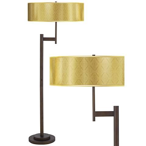 Moroccan Diamonds Gold Metallic Giclee Parker Bronze Floor Lamp