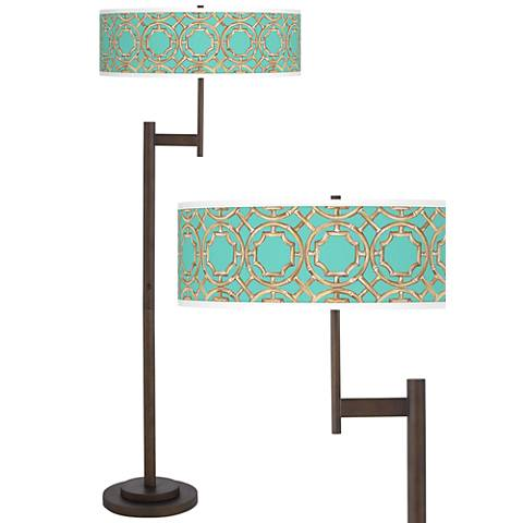Teal Bamboo Trellis Parker Light Blaster™ Floor Lamp