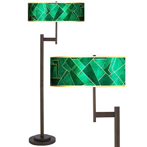 Emerald City Gold Metallic Giclee Parker Bronze Floor Lamp