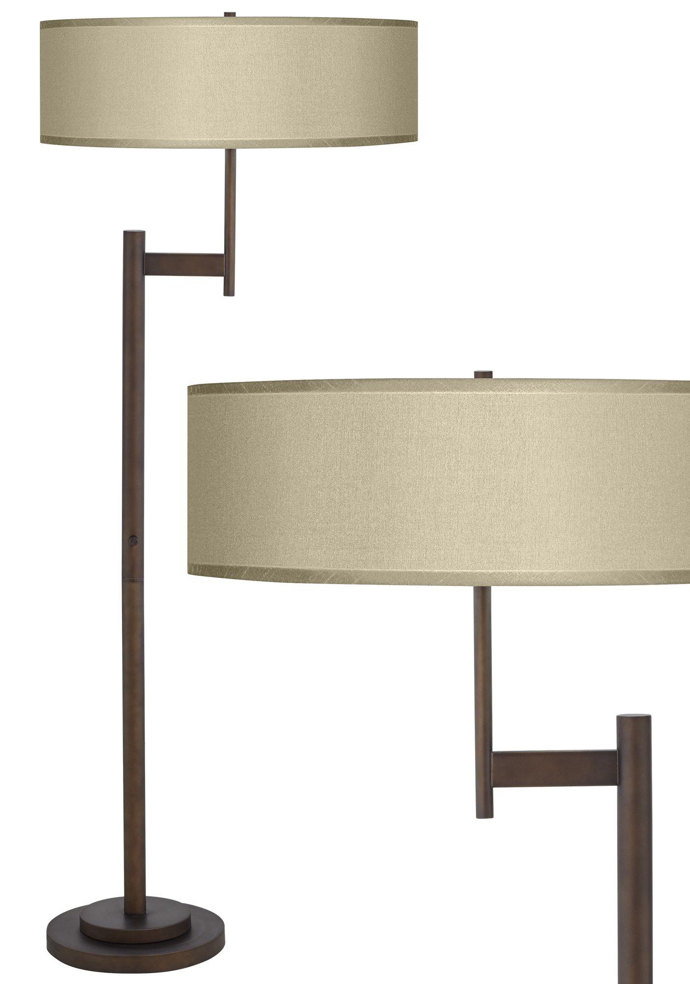 Parker Light Blaster Floor Lamp With Sesame Faux Silk Shade