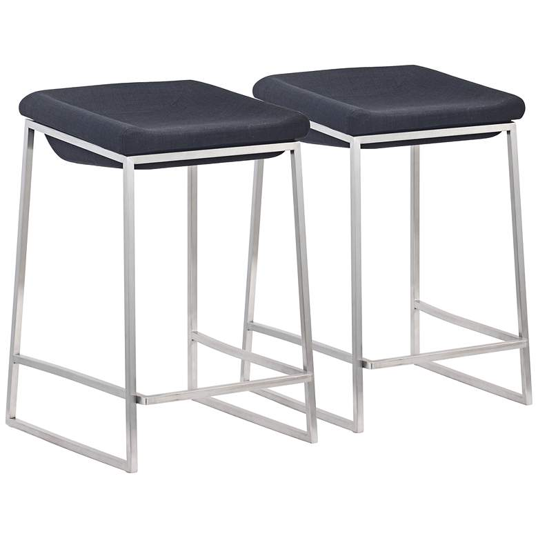 Pleasing Zuo Lids 25 1 2 Dark Gray Counter Stools Set Of 2 Forskolin Free Trial Chair Design Images Forskolin Free Trialorg