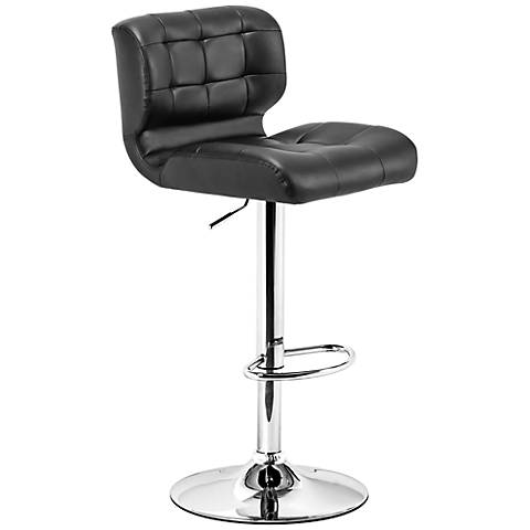 Zuo Formula Chrome Black Leather Adjustable Swivel Barstool