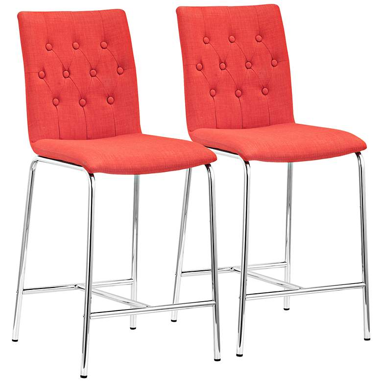 """Uppsala 24"""" Tangerine Fabric Tufted Counter Chairs Set of 2"""