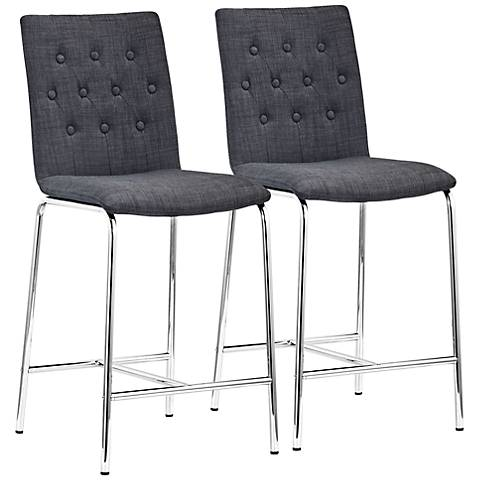 """Uppsala 24"""" Graphite Fabric Tufted Counter Chairs Set of 2"""