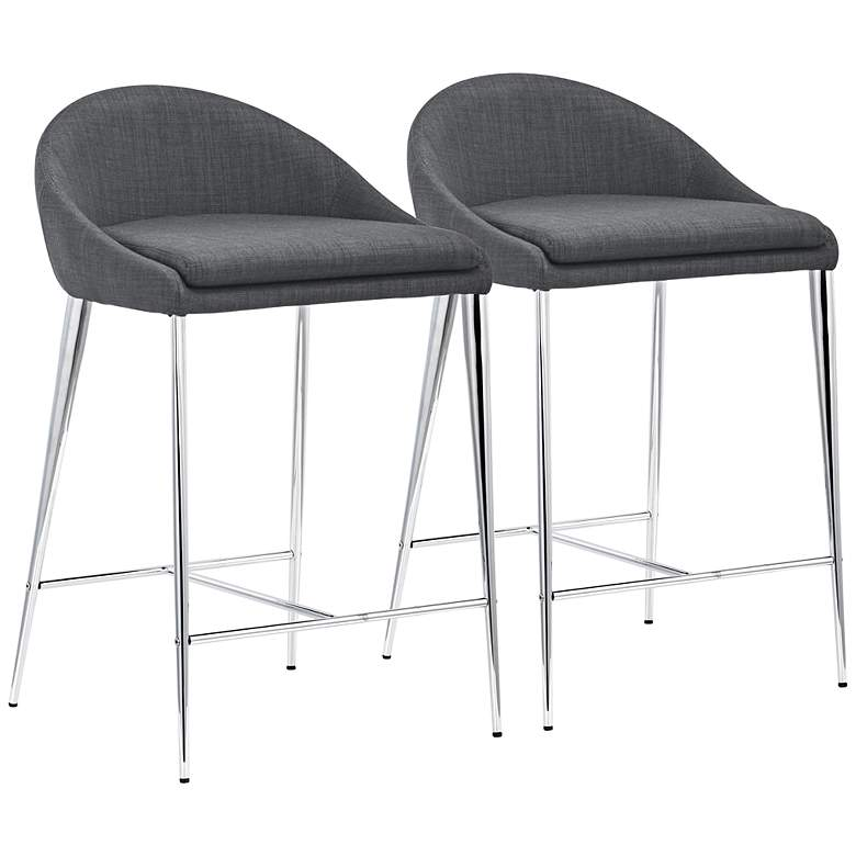 Superb Zuo Reykjavik 24 1 2 Graphite Fabric Counter Chairs Set Of 2 Short Links Chair Design For Home Short Linksinfo
