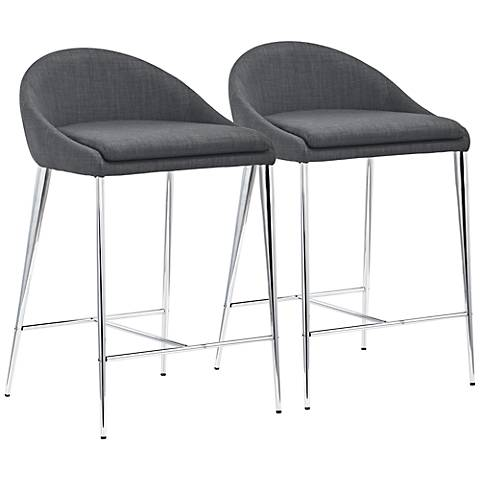 "Zuo Reykjavik 24 1/2"" Graphite Fabric Counter Chairs Set of 2"