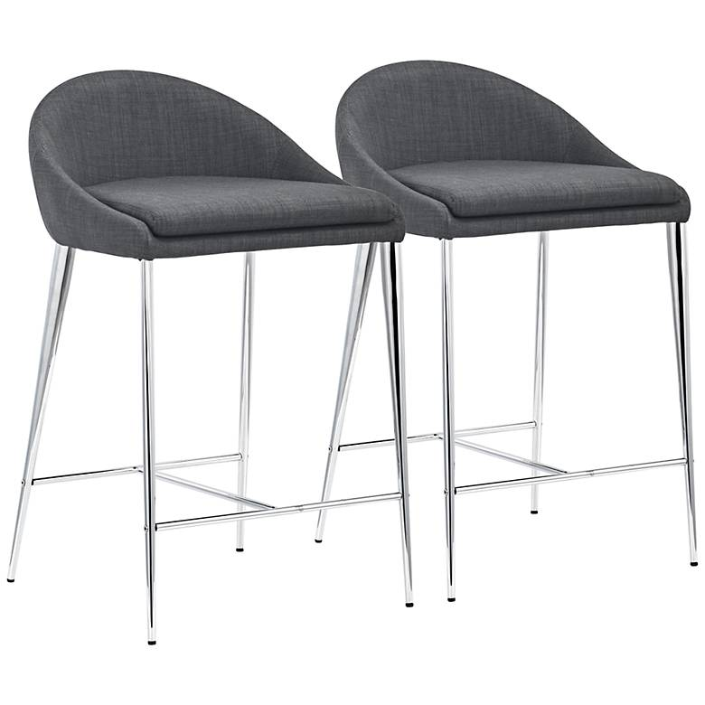 Zuo Reykjavik 24 1/2 Graphite Fabric Counter Chairs Set of 2