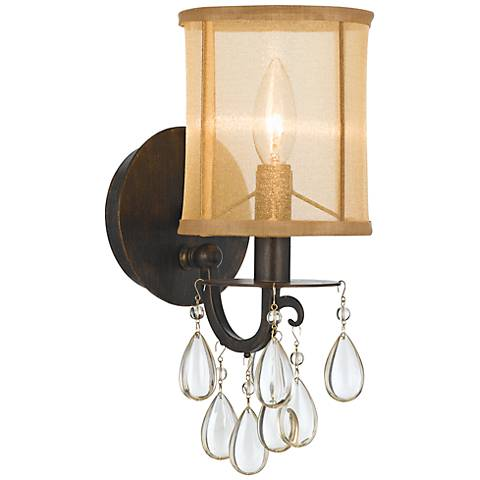 "Crystorama Hampton 13"" High English Bronze Wall Sconce"
