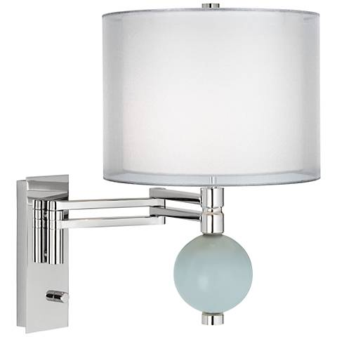 Rain Double Sheer Silver Shade Niko Swing Arm Wall Lamp