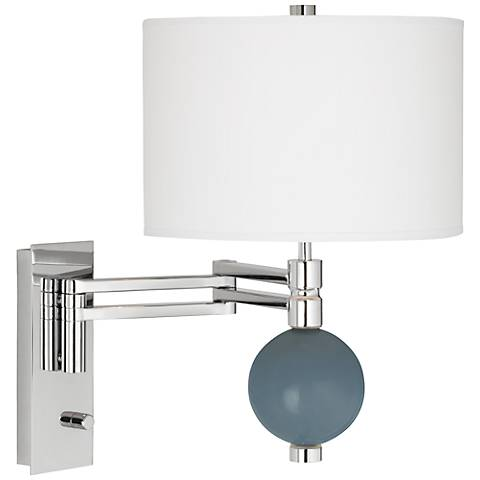 Smoky Blue Niko Swing Arm Wall Lamp