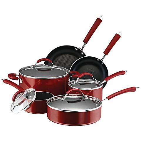 Farberware Millennium Red Porcelain 12-Piece Cookware Set
